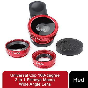 Universal Clip 180-graders 3 i 1 Fiskeøje makro vidvinkelobjektiv - rød