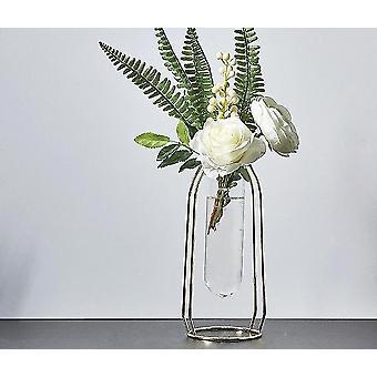 Nordisk stil guldpläterade miljövänliga metalldekorvaser med blommor (Golden Height 24cm8)