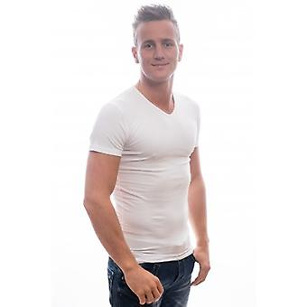 Slater Stretch T-Shirt V-Neck white Two Pack ( art 6600)