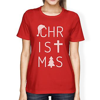 Christmas Letters Womens Red Graphic T-Shirt Short Sleeve Cotton