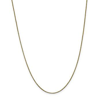 14k Yellow Gold Polished Lobster Claw Closure 1.0mm Box Chain Necklace - Length: 14 to 30
