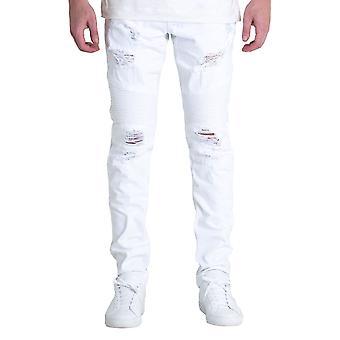 Embellish Daytona Biker Denim Jeans White
