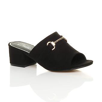 Ajvani naisten puolivälissä lohko sandalit lukon auki takaisin muulit varvastossut