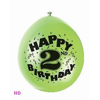 """Ballonnen 'Gelukkige 2de verjaardag' 9"""" Latex ballonnen (10)"""