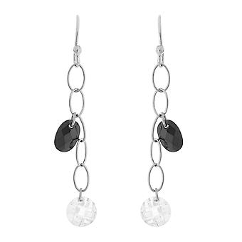 Orphelia Silver 925 Drop Earring Color Oval Black White  ZO-5729/1