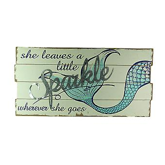 She Leaves a Little Sparkle Glitter Mermaid Tail Wall Hanging