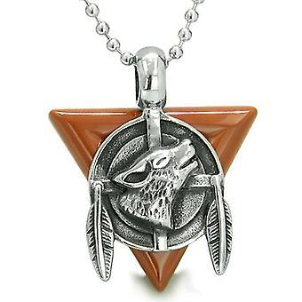 Amulett Pfeilspitze Heulender Wolf Trinity Dreamcatcher Dreieck Schutz roter Jaspis Anhänger Halskette