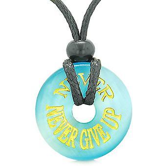 Inspirasjon aldri aldri gi opp Amulet Donut lykkebringer himmelblå simulert katter øye halskjede