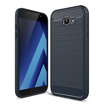 Samsung Galaxy A7 2017 TPU case carbon fiberoptik børstet beskyttende tilfælde blå