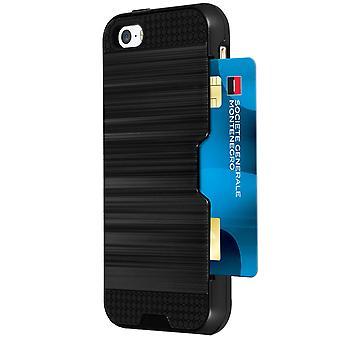 Difensore bi-materiale custodia + supporto per scheda per iPhone 5 / 5S / SE - nero