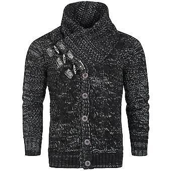 Suéteres jerseys con estrías nudos noruego Knitjacket hombres embudo-cuello de punto
