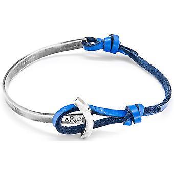 Anker og besætningen Galleon sølv og læder armbånd - kongeblå