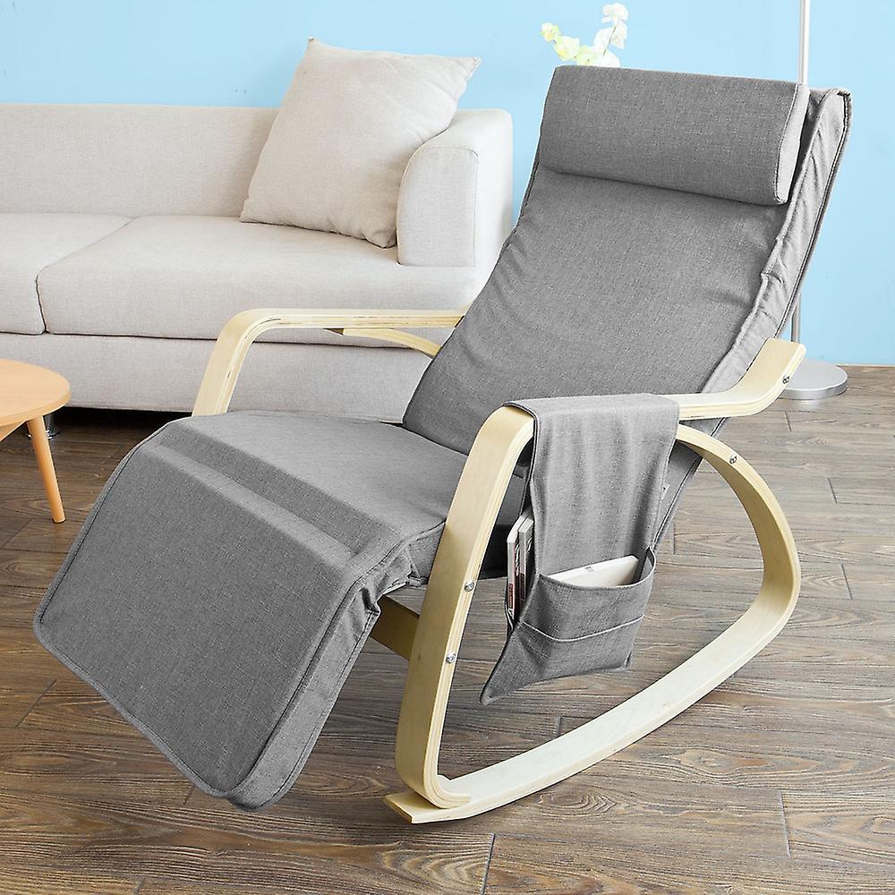 SoBuy Relax Rocking Chair avec repose-pieds réglable côté sac, FST18-DG