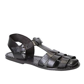 Noirs plats sandales pour femmes vraies cuir fait main en Italie