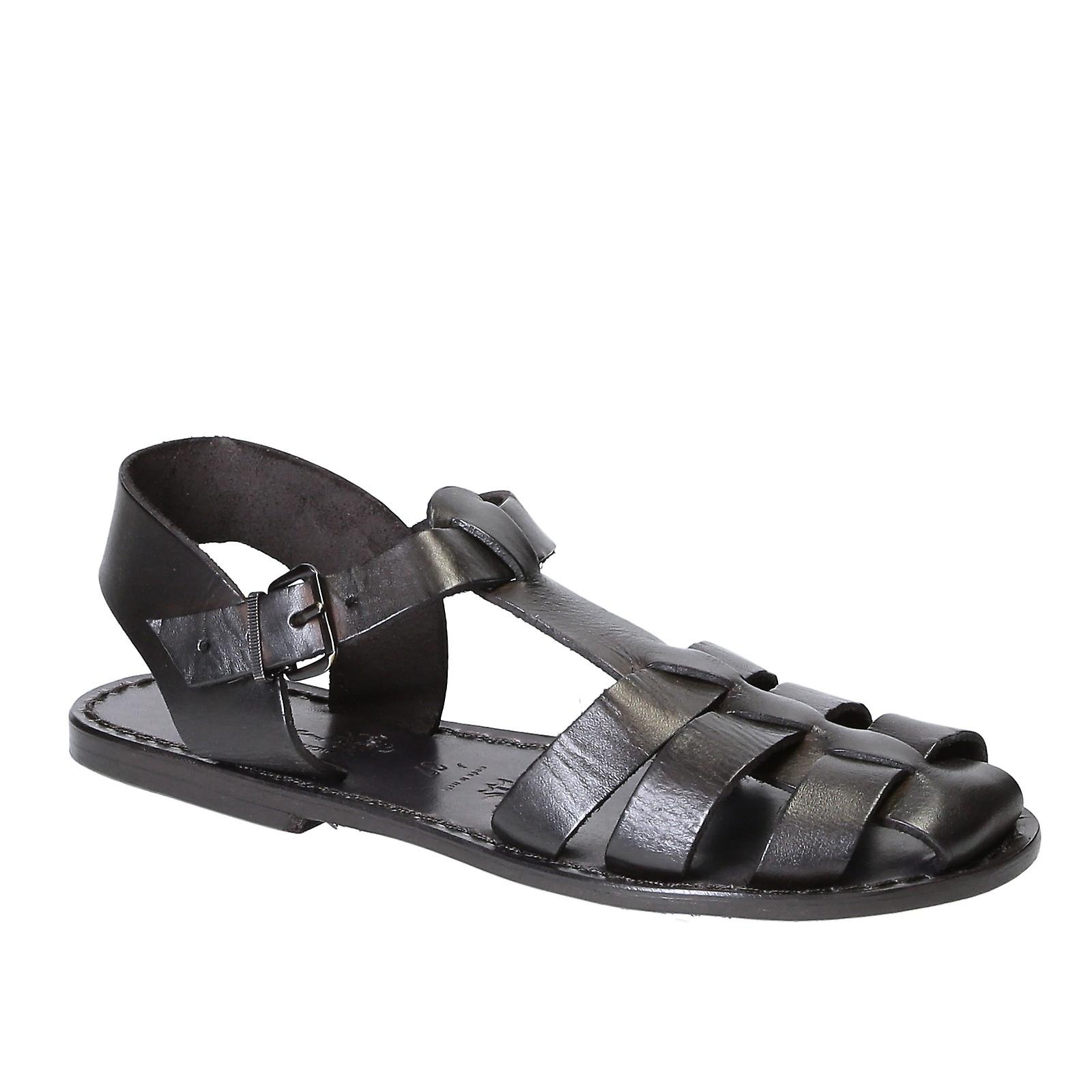 Black flat sandals for women real leather Handmade in Italy LnlMy