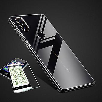 Para Huawei P smart 2019 / 10 Lite Silikoncase TPU transparente + 0,26 H9 vidro saco caso tampa protetora de honra
