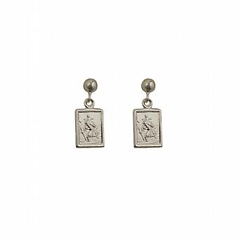 Silver 8x6mm rectangular St Christopher Dropper Earrings
