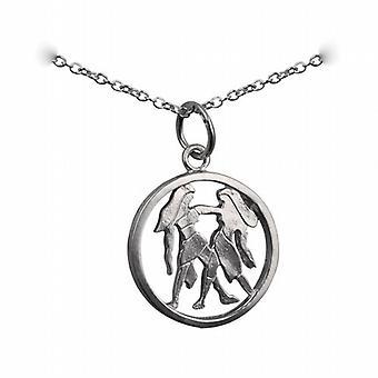 Silver 15mm pierced Gemini Zodiac Pendant with a rolo Chain 24 inches