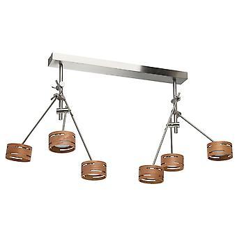 Glasberg - LED semi-incasso soffitto luce regolabile luce sei In nichel satinato con tonalità di legno 725010306