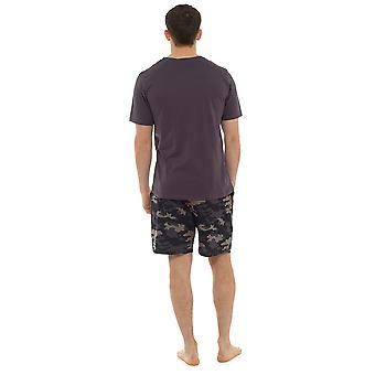 Tom Franks Mens V Neck Printed Short Pyjama Set