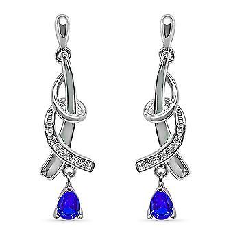 Ah! Torsion de bijoux boucles d'oreilles Design avec saphir Drop & pavée de cristaux de Swarovski