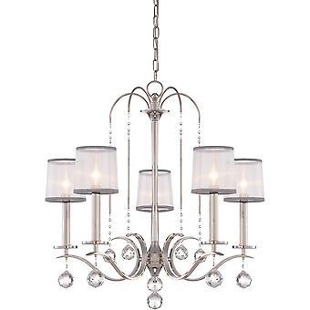 Elstead-lustre com 5 lâmpadas-acabamento em prata Imperial-QZ/WHITNEY5