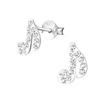 Boucles d'oreilles en argent sterling et cristal musical note des enfants