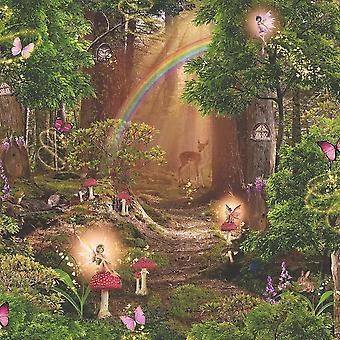 Children's Pixie Trees Fairy Wallpaper Red Green Brown Magic Garden Forest