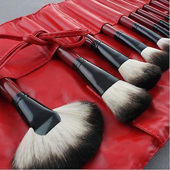 Rode 22 stk. Professionelle makeupbørster og læderetuier