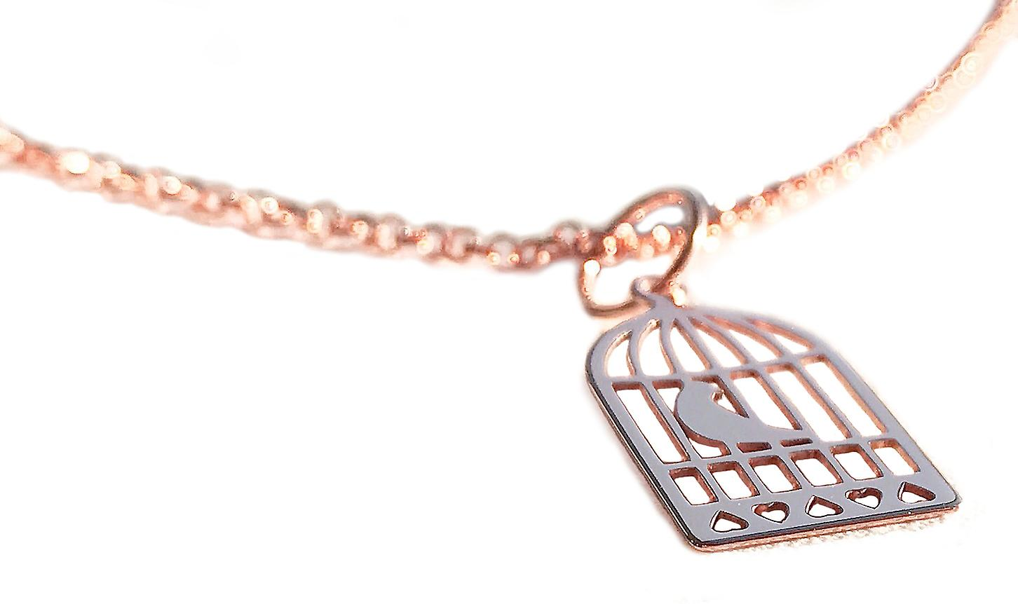Ah! Jewellery Bird Cage Pendant Necklace, 18K Rose Gold Vermeil Over Sterling Silver