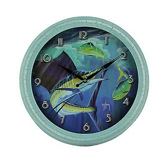 Guy Harvey Blue Sailfish Beveled Framed Wall Clock 15 inch Diameter