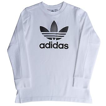 Junior Boys adidas Originals Trefoil Ls T-Shirt In White-Long Sleeve-Ribbed