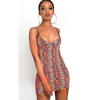 IKRUSH Womens Dina Snake Print Mini Dress