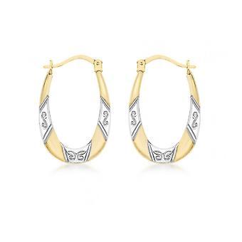 Eternity 9ct 2 Couleur Ovale Diamond Cut Créole Hoop Boucles d'oreilles