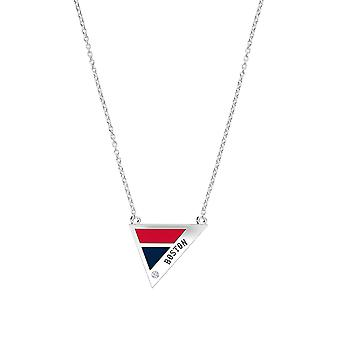 Boston Red Sox Engraved Sterling Silver Diamond Geometric Necklace In Red & Blue