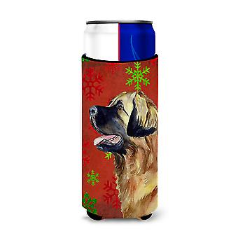 Leonberger Red and Green Snowflakes Holiday Christmas Ultra Beverage Insulators