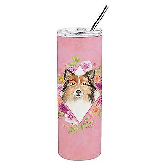 Sheltie Pink Flowers Double Walled Stainless Steel 20 oz Skinny Tumbler