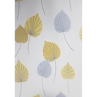 Amarillo gris blanco hoja papel pintado brillo floral texturado en relieve Rasch Vermont