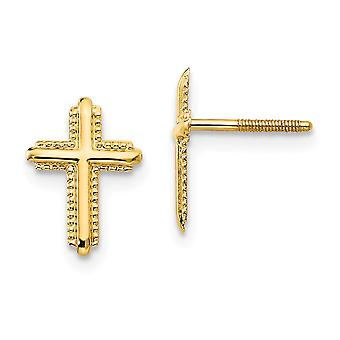 14k Yellow Gold Textured Polished Screw back Cross Post Earrings - .2 Grams