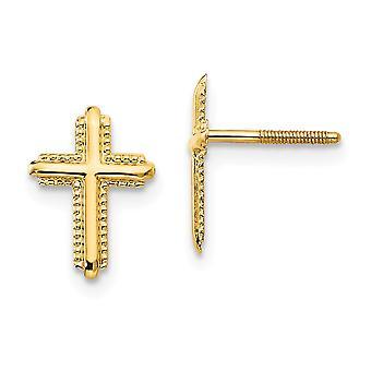 14kイエローゴールドテクスチャ洗練されたねじバック宗教的信仰クロスポストポストイヤリング女性のためのジュエリーギフト