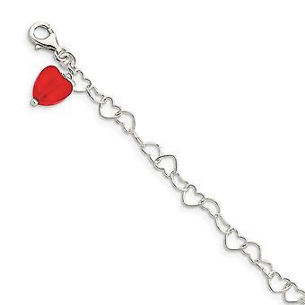 925 Sterling Silver leštené Fancy Lobster uzavretie Red Crystal Love Heart Link Anklet 10 palcov Lobster pazúr šperky Darčeky