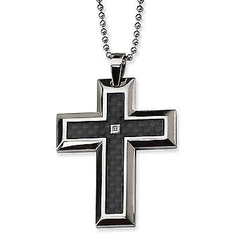 Roestvrij staal gepolijst gegraveerd fancy kreeft sluiting diamant accent religieuze geloof kruis ketting 24 inch sieraden