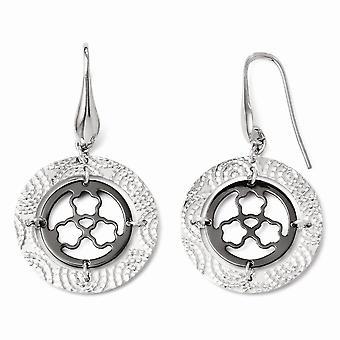 925 sterling sølv Dangle poleret hyrde krog ruthenium plating og ruthenium-belagte gnistre-cut øreringe