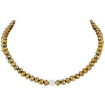 Eternal Collection Majestic Gold Crystal Statement Beaded Necklace