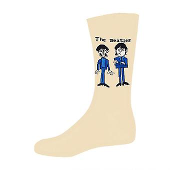 The Beatles Cartoon Group Standing Official Womens New Beige Socks (UK Size 4-7)