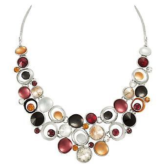 Eternal Collection Vivacious Red Multi Enamel Crystal Silver Tone Statement Necklace