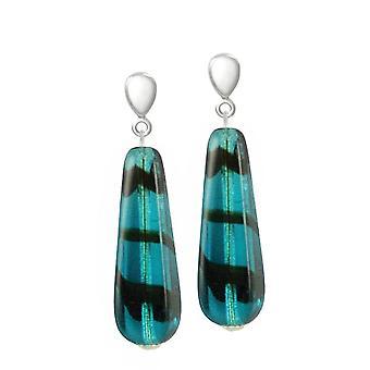 Eternal Collection Teal Tortoiseshell Glass Teardrop Silver Tone Drop Clip On Earrings