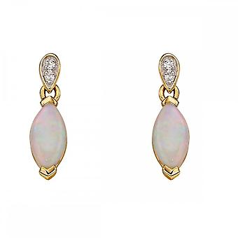 Elements Gold Yellow Gold And Opal Marquise Earrings GE2227W