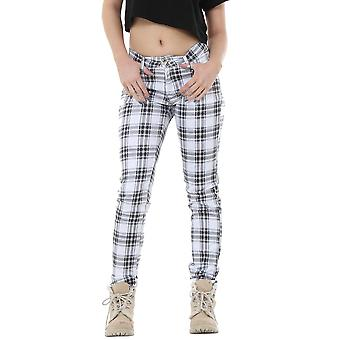 Tartan Check Plaid Slim Fitted Trousers