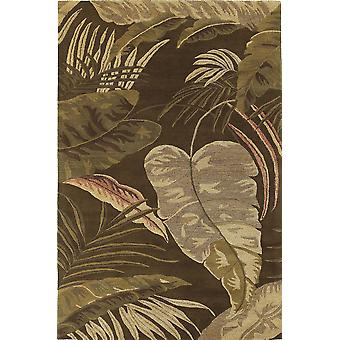 3'x4' Mocha Brown Hand Tufted Tropical Leaves Indoor Area Rug